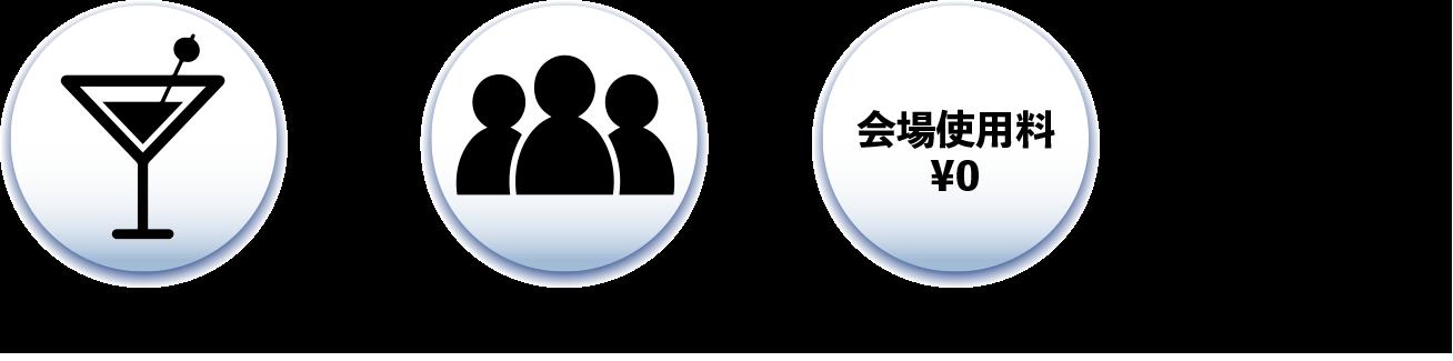 DRINK ×人数+会場使用料¥0=合計金額